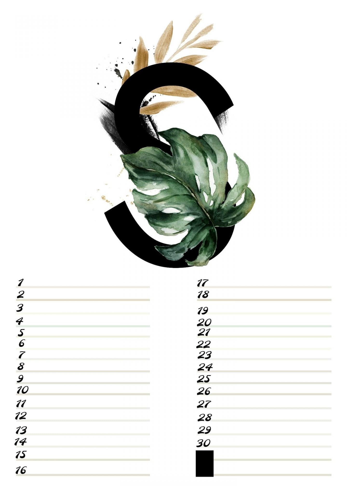 A4 Gratis verjaardagskalender alfabet September ElsaRblog