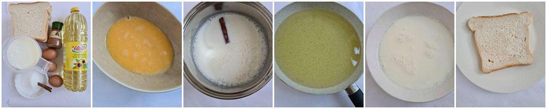Giet de melk in een diep bord en haal het sneetje brood erdoorheen