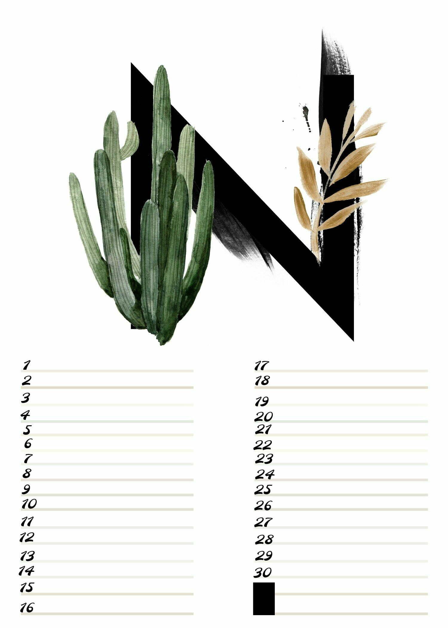 A4 Gratis verjaardagskalender alfabet November ElsaRblog