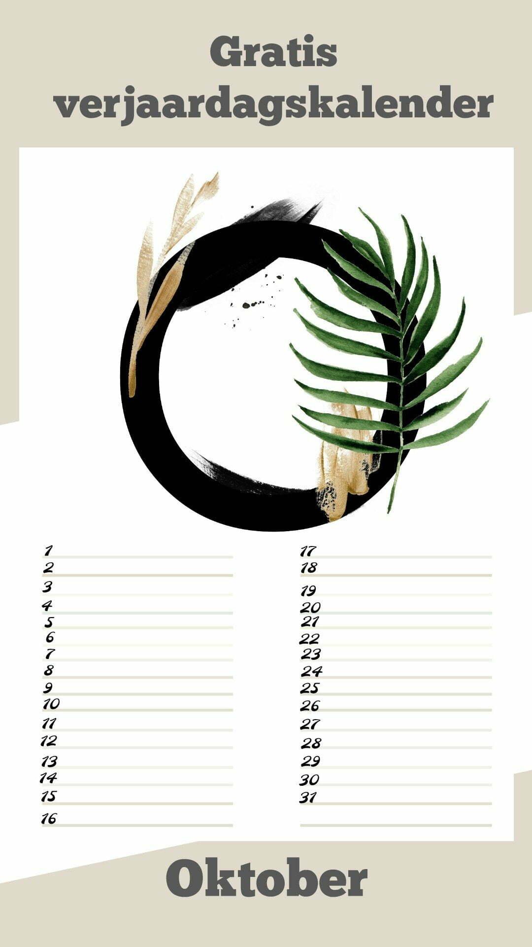 Gratis verjaardagskalender alfabet van Oktober