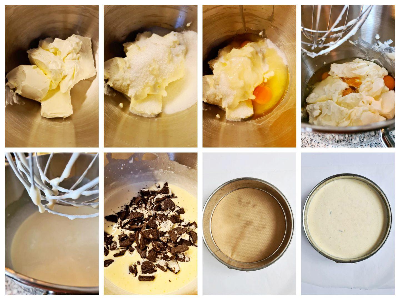 Meng de monchou, crème fraîche, suiker en de eieren tot een beslag.