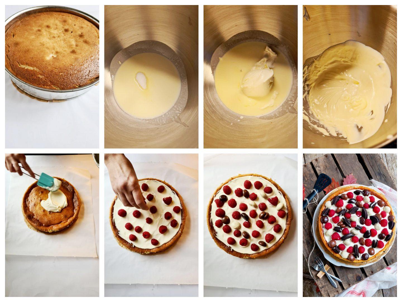 Versier de Oreo cheesecake met de slagroom, Oreo koekjes, frambozen en de gemengde chocolade pepernoten.