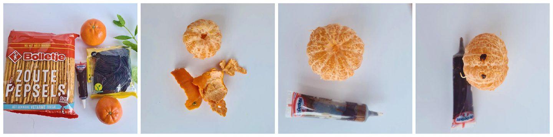 Maak een gezicht op de mandarijn