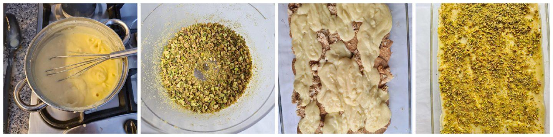 Bestrooi de crème met de fijne pistachenoten en blauwe bessen
