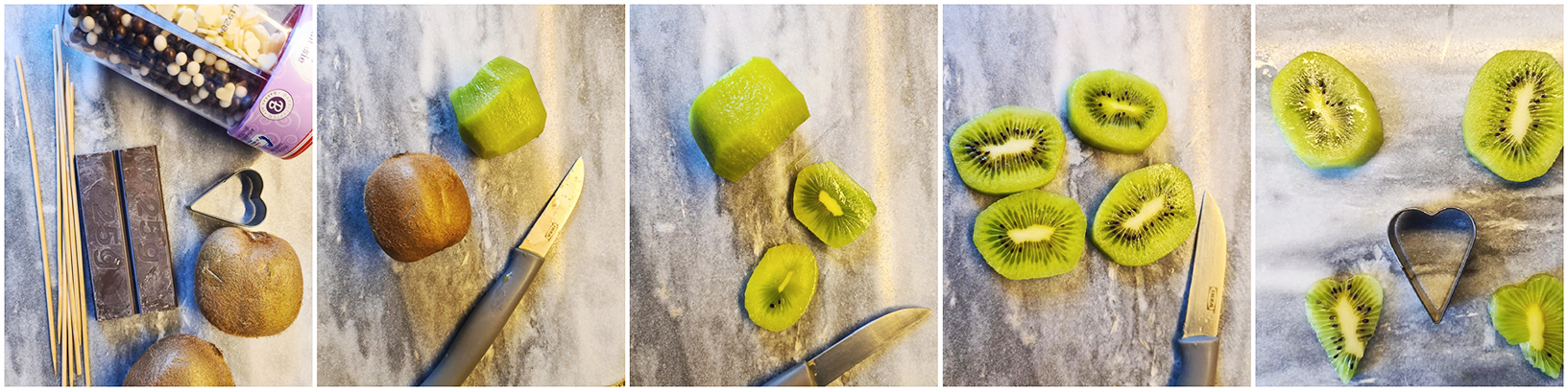 Elke kiwi kun je in 4 plakjes snijden.