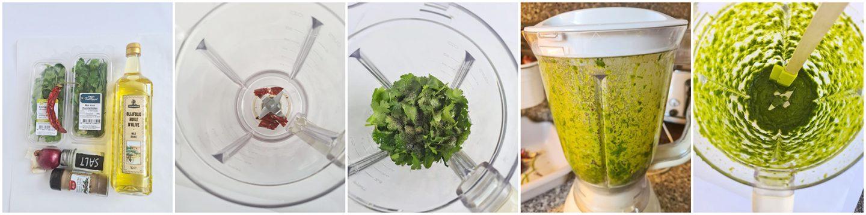 Als alle ingredienten in de blender zijnalles fijn malen tot een mooie groenesaus.
