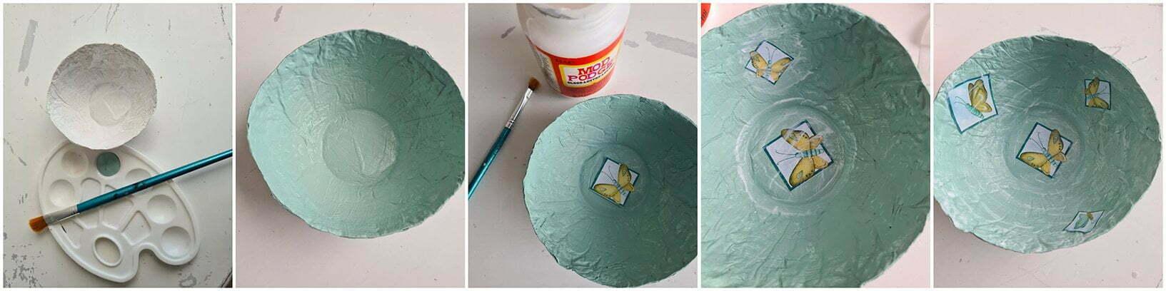 Vervolgens breng je over hele Papier Mâché decoratie schaaltje, Mod Podje met een kwast.