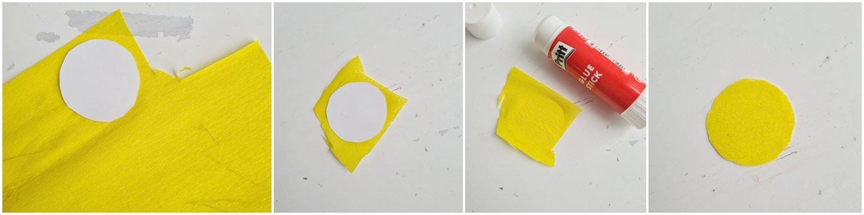 Als het droog is, knip je het over het geel crêpepapier.