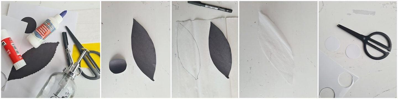 Vervolgens knip je het blaadje uit wit crêpepapier.