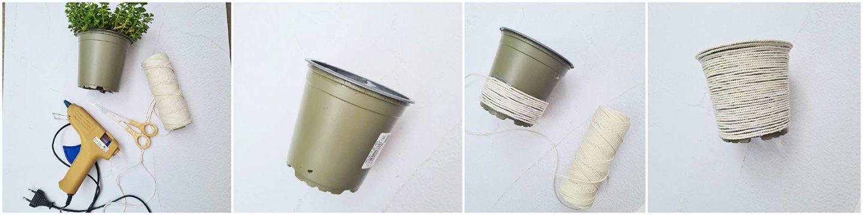 Herhaal dit, tot de bloempot helemaal bedekt is met touw (omgewikkeld).