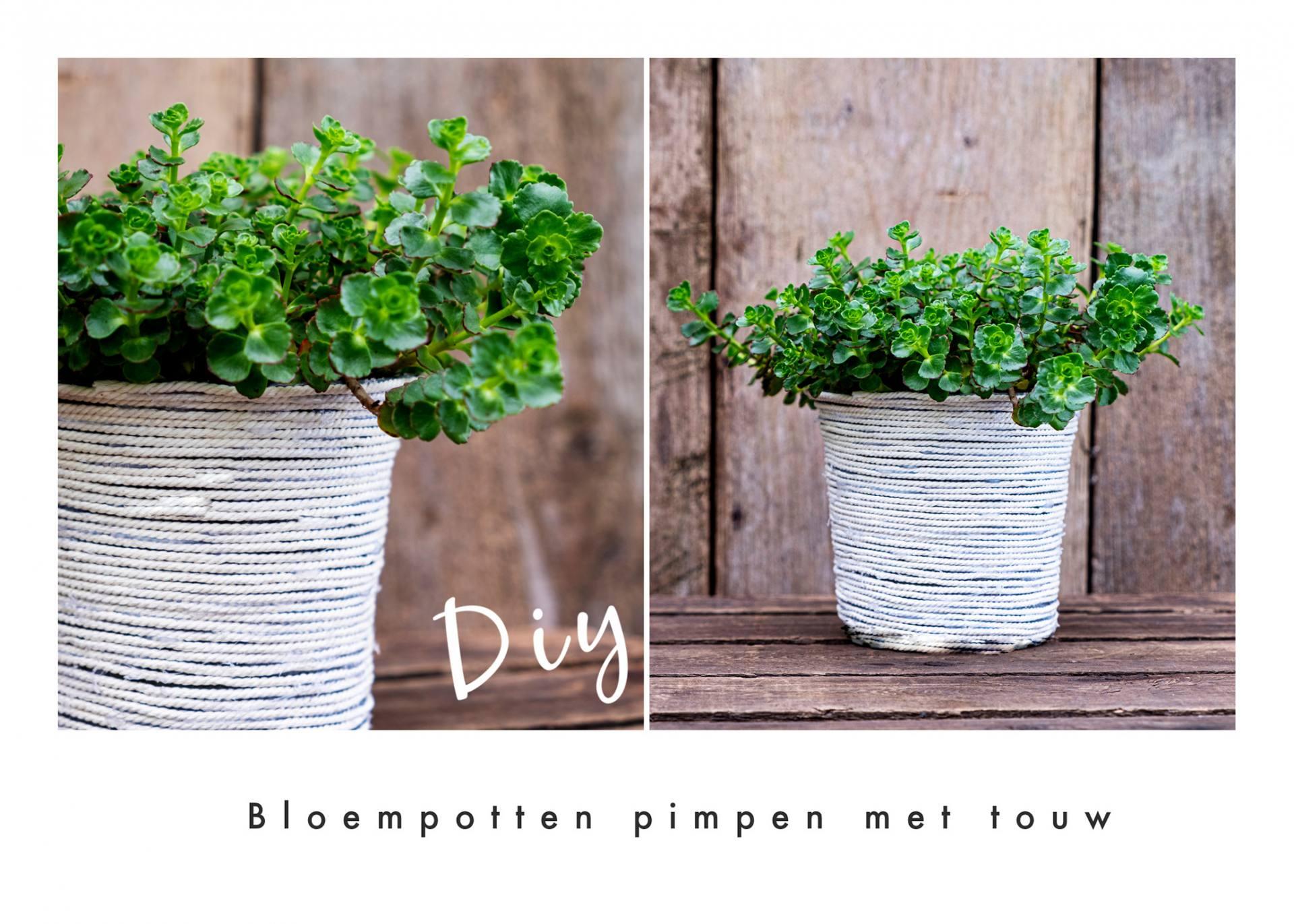Bloempotten pimpen met touw; Diy recycling