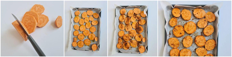 Draai alle zoete aardappels schijfjes om en besprenkel alweer met olijfolie.