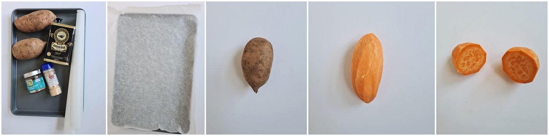 Vervolgens snijd je de zoete aardappel door het midden