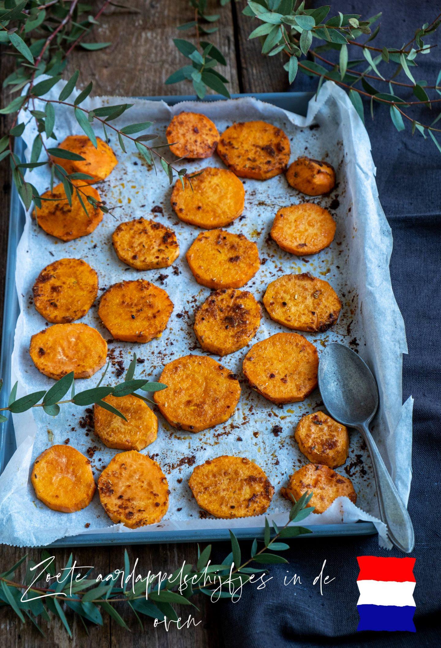 Zoete aardappelschijfjes in de oven