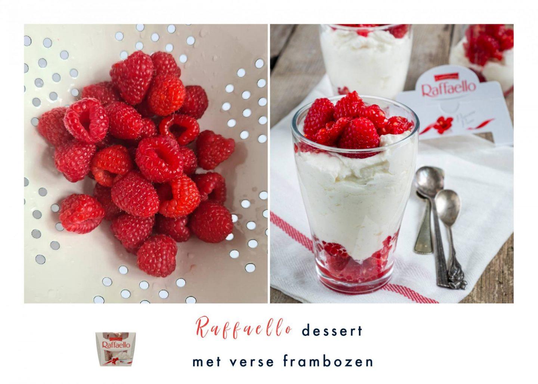 Raffaello dessert met verse frambozen