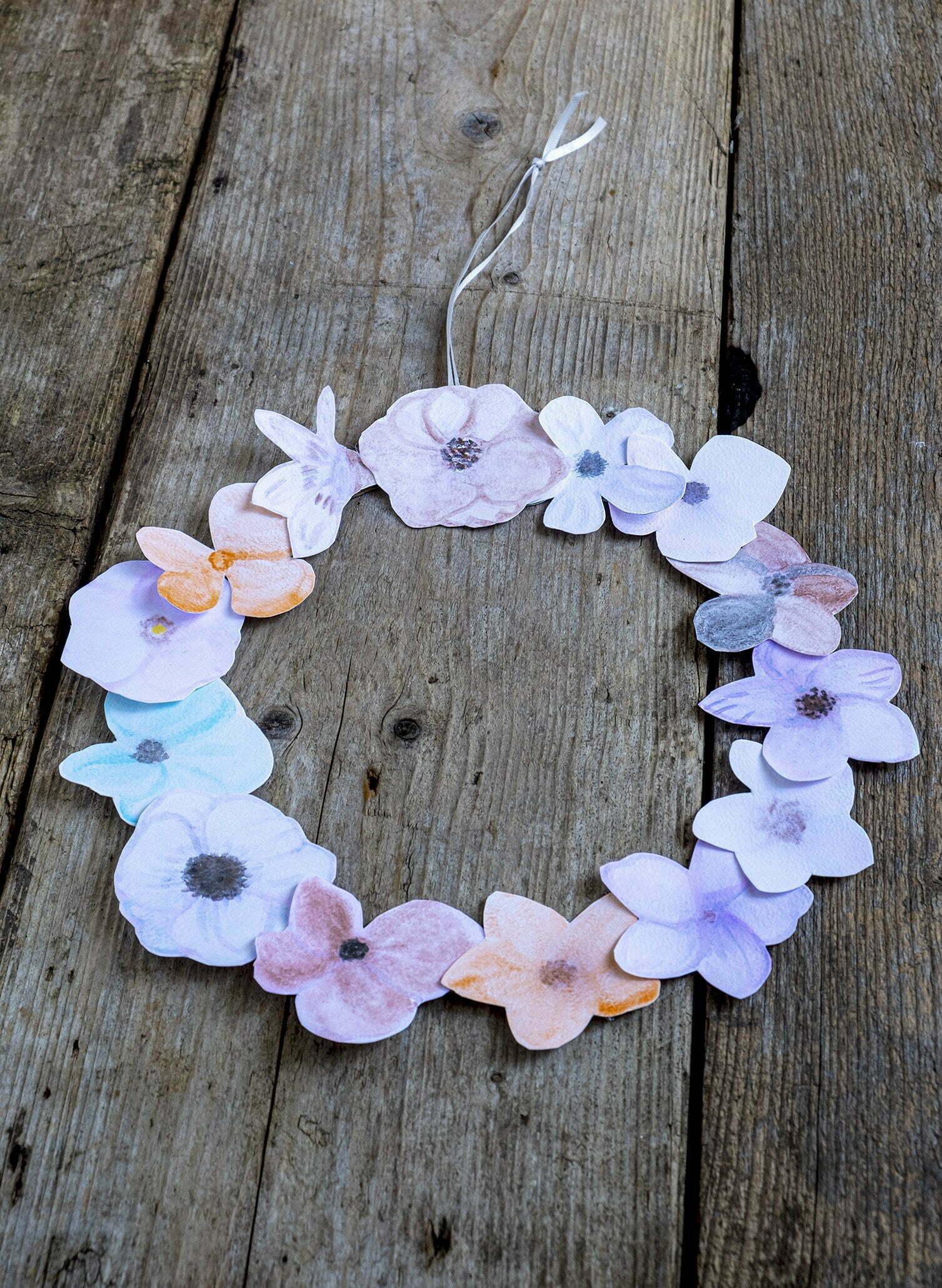 Waterverf bloemetjes maken voor een krans