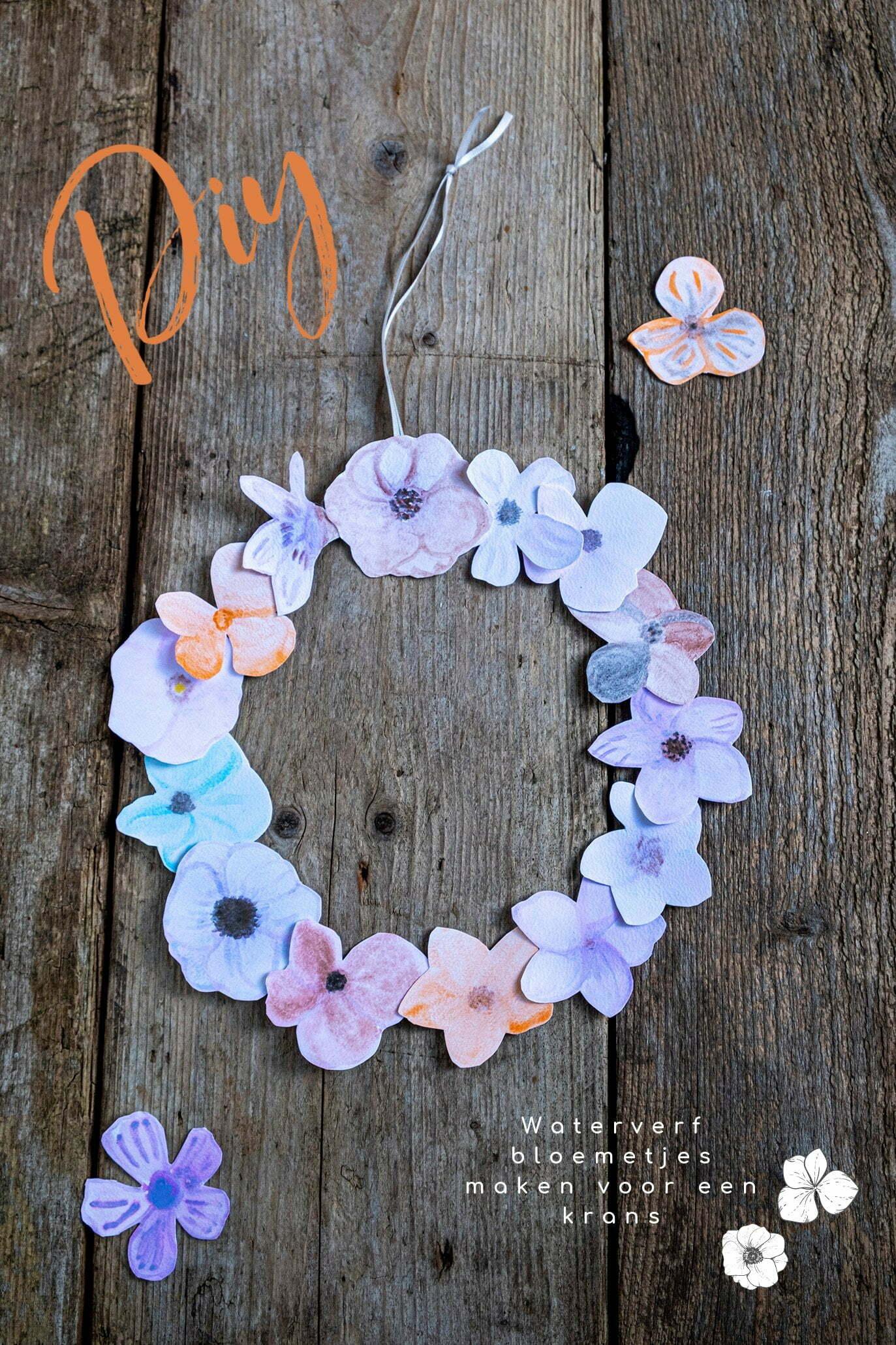 Diy; Waterverf bloemetjes maken voor een krans