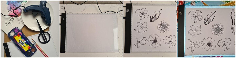 Sla op en print (met kopieerpapier) het A4 Waterverf bloemetjes Elsarblog.
