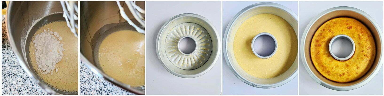 Giet het cakebeslag in een ingevette bakvorm