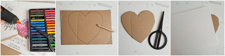 Vervolgens knip je het hart uithetkarton.