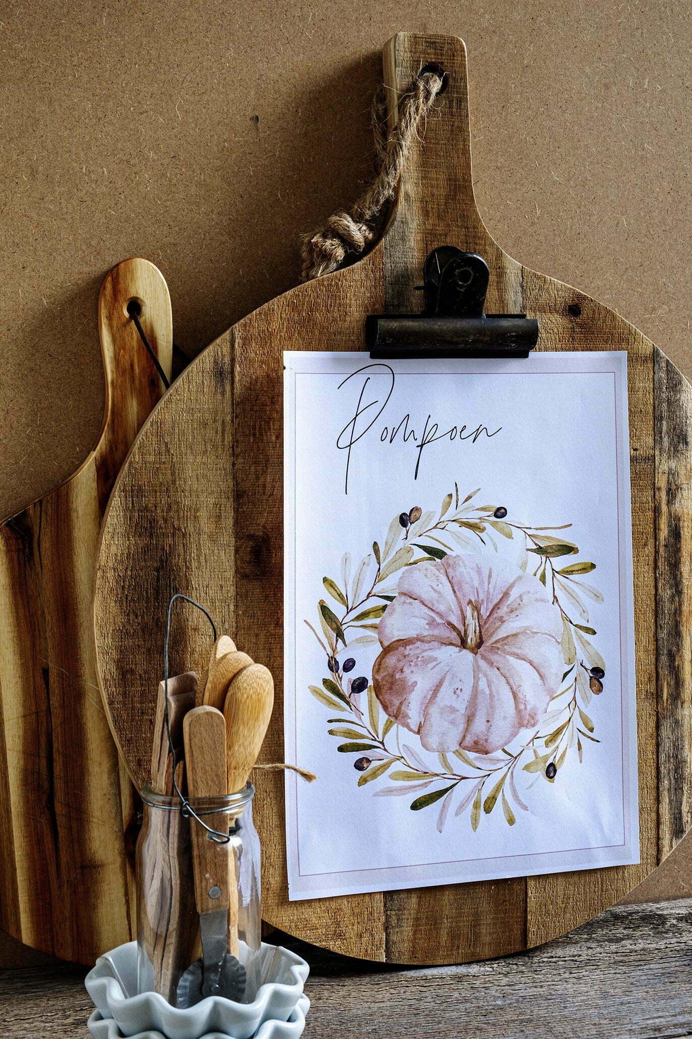 Pompoen illustratie printen voor in de keuken