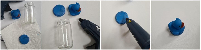 Als de lijm droog is kun je de glazen potjes gebruiken.
